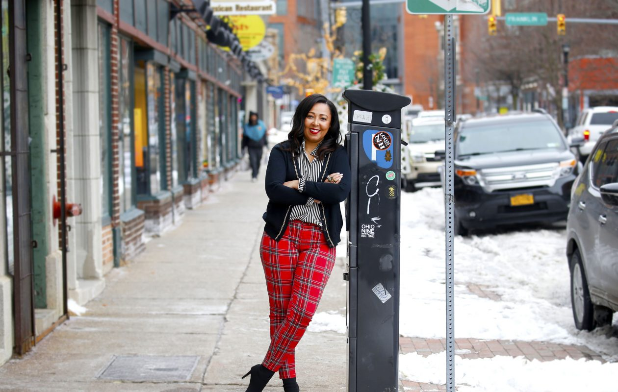 Siobhan Taylor outside MS Eye Candy Boutique at 85 Allen St.  (Robert Kirkham/Buffalo News)