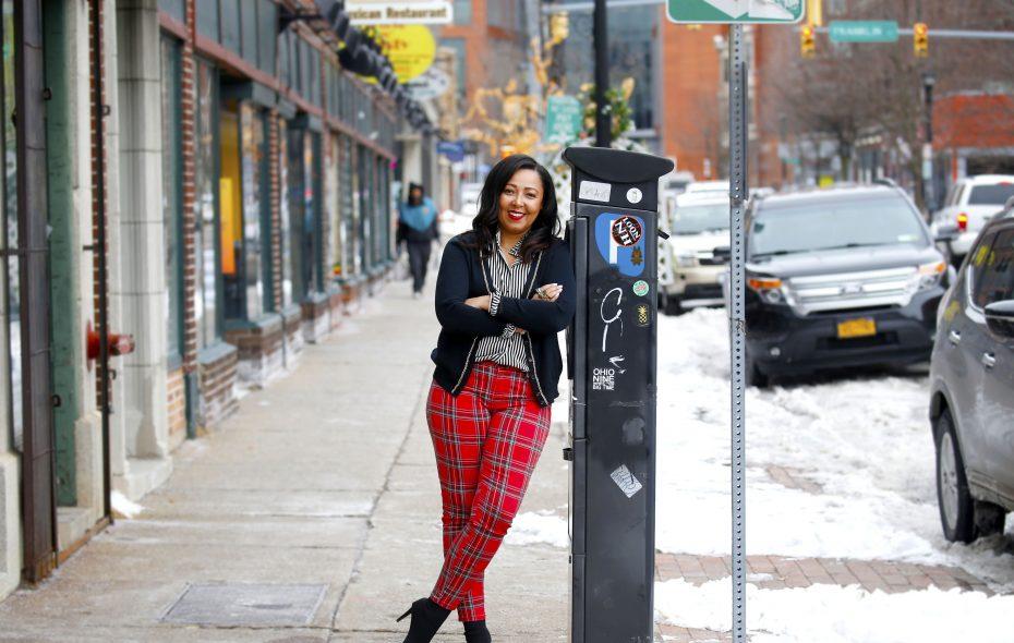 Siobhan Taylor outside MS Eye Candy Boutique at 85 Allen St.  (Robert Kirkham/Buffalo News)