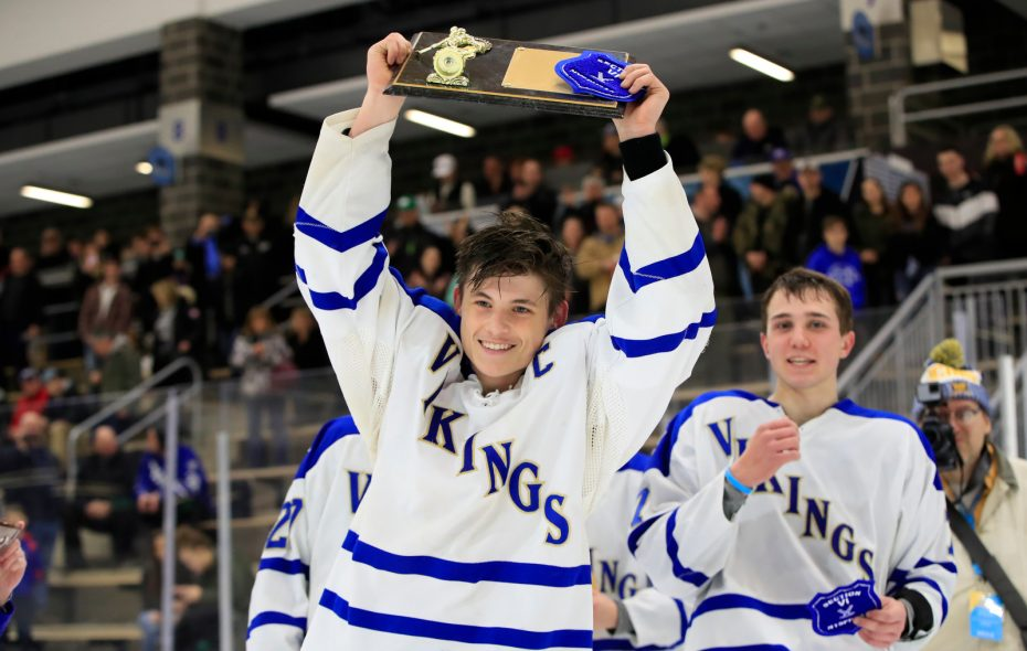 Grand Island captain Trevor Samplinski celebrates a 3-2 victory over West Seneca West for the Division 2 school Championship at Harborcenter on Monday, Feb. 25, 2019. (Harry Scull Jr./Buffalo News)