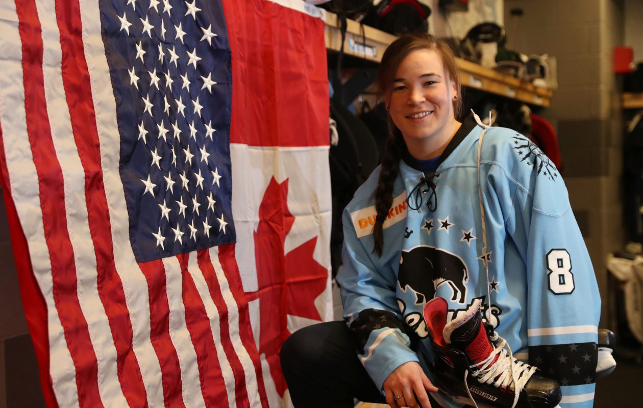 Kelly Babstock of the Buffalo Beauts was born Canadian and became a U.S. citizen on Jan. 29.  (Sharon Cantillon/Buffalo News)