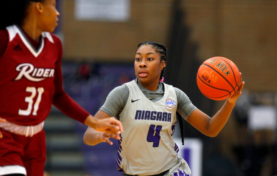 Niagara University guard Jai Moore dribbles against Rider during the second half of a college basketball game at the Gallagher Center on Sunday, Feb. 24, 2019. (Harry Scull Jr./Buffalo News)
