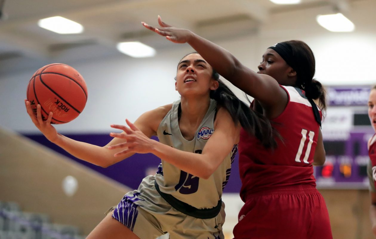 Niagara University player Adila Gathers shoots against Rider during the second half at the Gallagher Center on Sunday, Feb. 24, 2019. (Harry Scull Jr./Buffalo News)