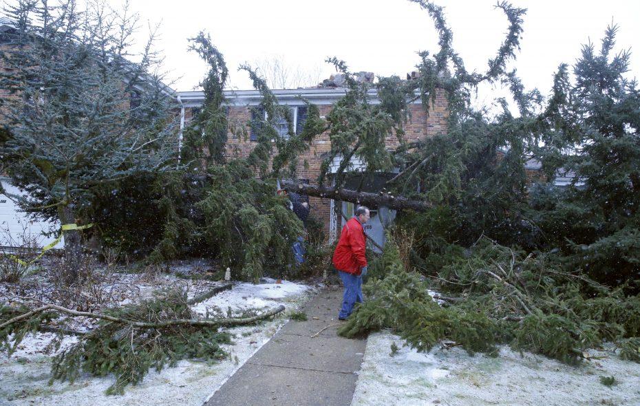 Dean Herrmann works on cutting a tree that fell on Peter Heyden home at 268 Woodbridge Avenue in Buffalo on Sunday, Feb. 24, 2019. (Harry Scull Jr./Buffalo News)