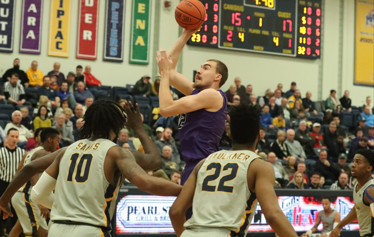 Forward Dominic Robb and the Niagara Purple Eagles will open MAAC Tournament play at 9 p.m. Thursday against Monmouth. (James P. McCoy/Buffalo News)