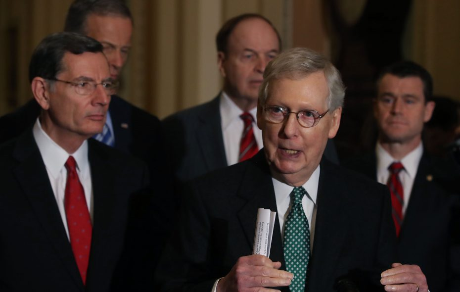 Senate Majority Leader Mitch McConnell (R-KY) , announced Thursday that President Donald Trump planned to declare a national emergency so he can bypass Congress and build his long-promised wall along the southwestern border. (Getty Images)