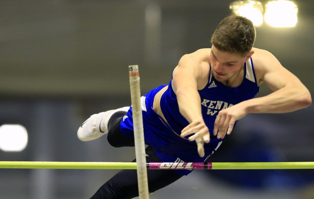 Chris Kaszynski from Kenmore West wins the Boys Pole Vault at the Section VI Indoor Track & Field State Qualifier at the Kerr-Pegula Field House at Houghton College on Thursday, Feb. 21, 2019. (Harry Scull Jr./Buffalo News)