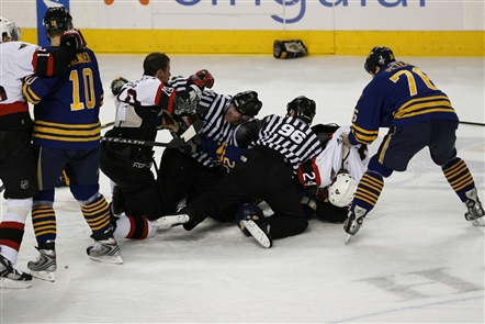 The Buffalo Sabres had one of their most memorable brawls in team history with the Ottawa Senators on Feb. 22, 2007. See photographs from News Sports Photographer James P. McCoy as well as how our sports section looked the next morning.
