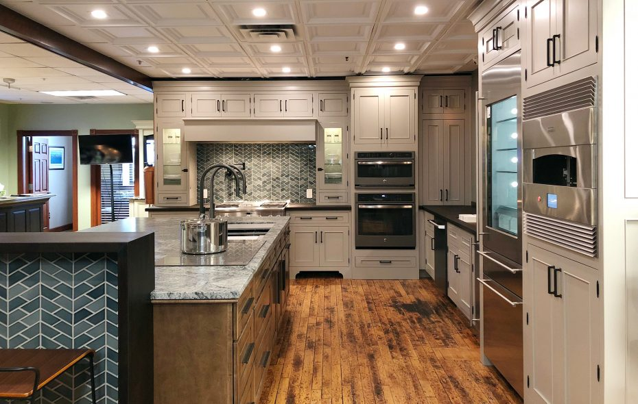 To accommodate potential future needs such as wheelchair access, the space between the kitchen counters and island was widened to four feet—up from the standard three. Toe kicks have also been raised. (Artisan Kitchens & Baths)