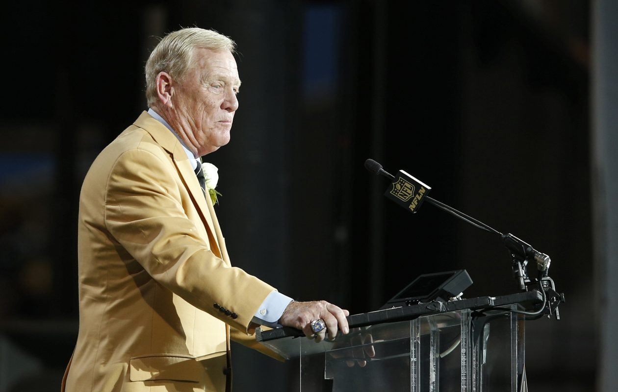 Bill Polian,  chief architect of the Bills' Super Bowl run of the early '90s, speaks during the 2015 NFL Hall of Fame induction ceremony in Canton, Ohio. (Getty Images)