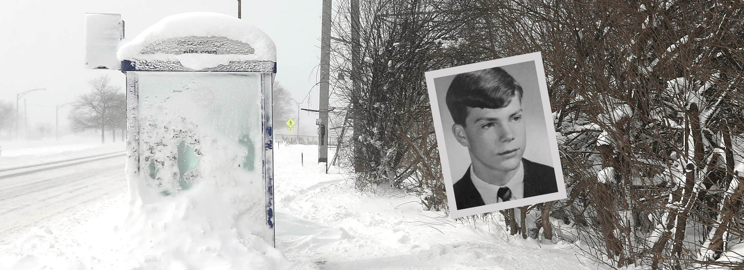 The bus shelter on Main Street where the homeless man known to Williamsville as Larry, shown here as he appeared in the Bishop Turner 1967 yearbook, was found dead. (Sharon Cantillon/Buffalo News)