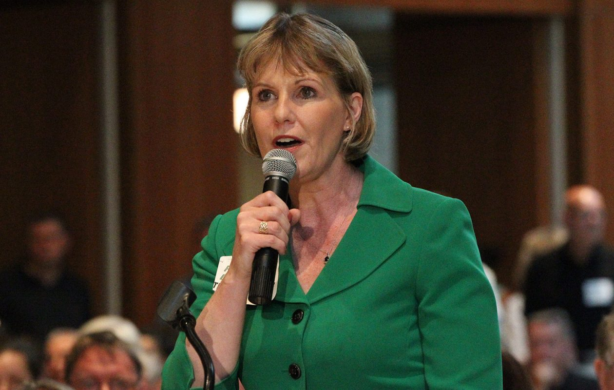 Sen. Cathy Young speaks  during a public hearing at SUNY Fredonia in 2013. She will leave her Senate post on March 10. (James P. McCoy/Buffalo News)