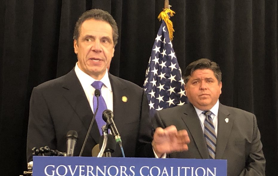 New York Gov. Andrew M. Cuomo, joined by Illinois Gov. J.B. Pritzker, said the federal tax reform bill passed in 2017 appears to have cost New York $2.3 billion in revenues. (Jerry Zremski/Buffalo News)