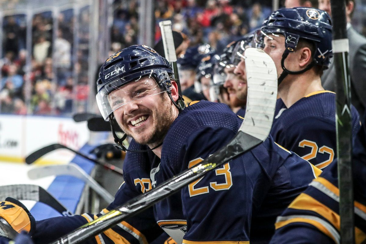 Buffalo Sabres winger Sam Reinhart (23) celebrates his third goal of the game in the third period at the KeyBank Center in Buffalo, NY on Saturday, Feb. 23, 2019.  (James P. McCoy/Buffalo News)