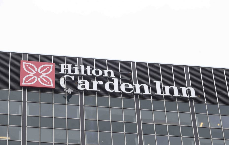 The Buffalo Fire Department responded to the letter 'G' on the sign of the Hilton Garden Inn  coming loose in high winds in downtown Buffalo. (John Hickey/Buffalo News)
