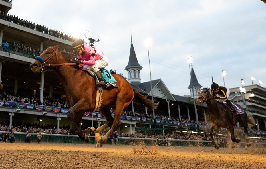 Knicks Go (yellow stripes on sleeves) finished second in BC Juvenile behind Game Winner at Churchill Downs in November. Photo Credit: Alex Evers/Eclipse Sportswire/CSM/Breeders' Cup