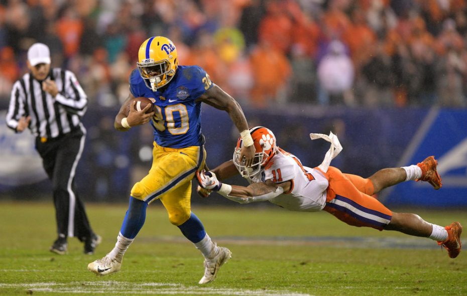 Qadree Ollison plans to switch to the No. 30 that he wore in his final season at Pitt.  (Grant Halverson/Getty Images)