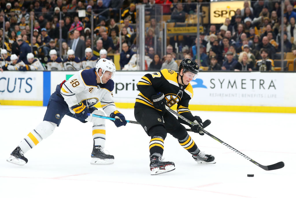 Defenseman Matt Hunwick (left) has played only three games for the Buffalo Sabres this season. (Getty Images)