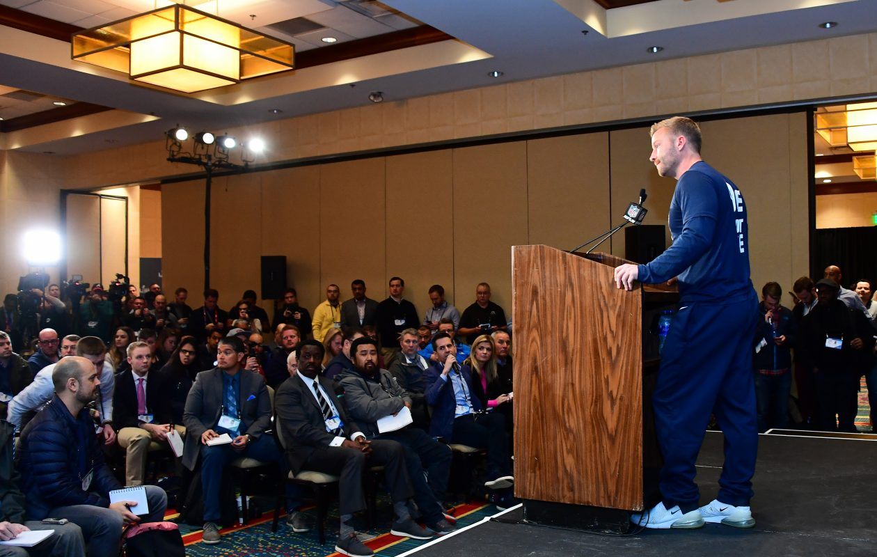 Rams coach Sean McVay talks to the media in advance of his first Super Bowl. (Getty Images)
