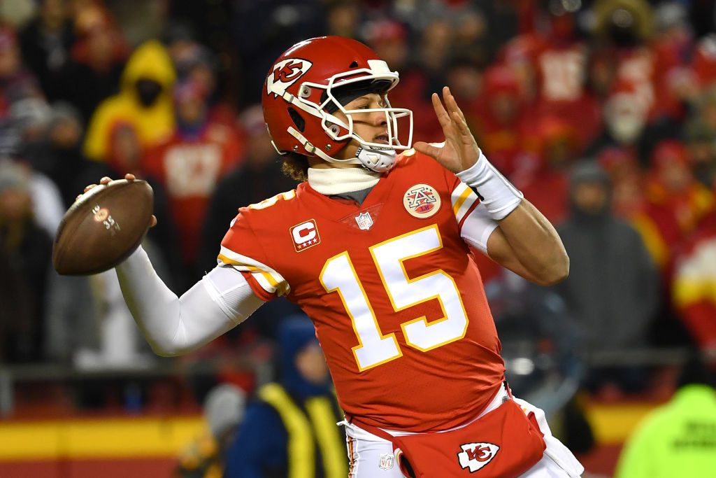 3dbb33ef961 Patrick Mahomes #15 of the Kansas City Chiefs throws a pass in the first  half