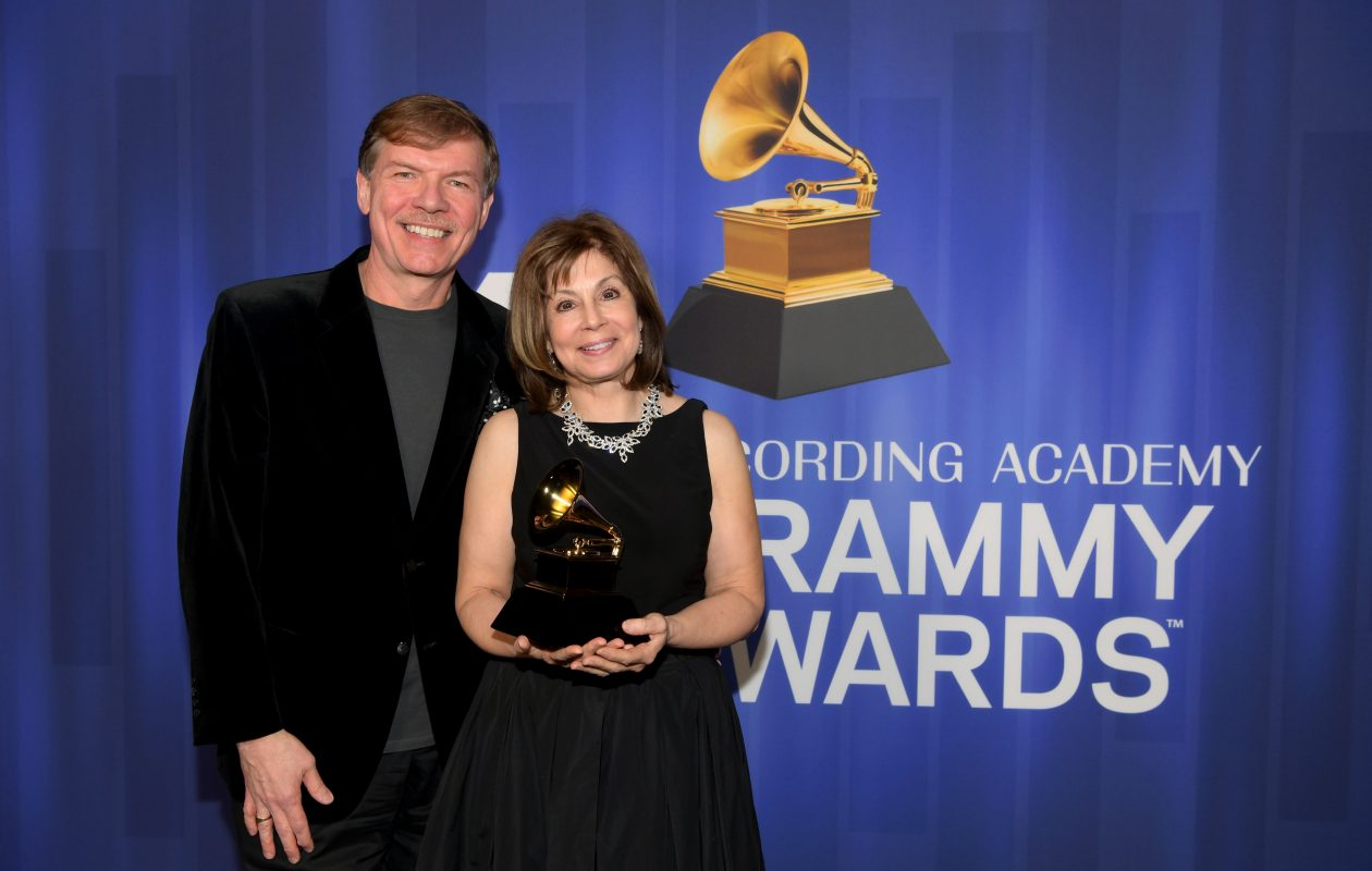 Kenneth Fuchs and JoAnn Falletta pose with their award at the 61st Annual Grammy Awards Premiere Ceremony at Microsoft Theater on Feb. 10, 2019 in Los Angelesa. (Photo by Emma McIntyre/Getty Images for The Recording Academy)
