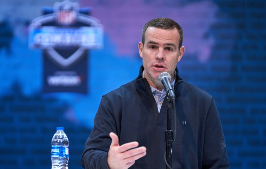 Bills General Manager Brandon Beane speaks at this year's NFL scouting combine. (Getty Images)