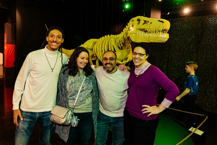 Smiles at Art of the Brick opening at Museum of Science