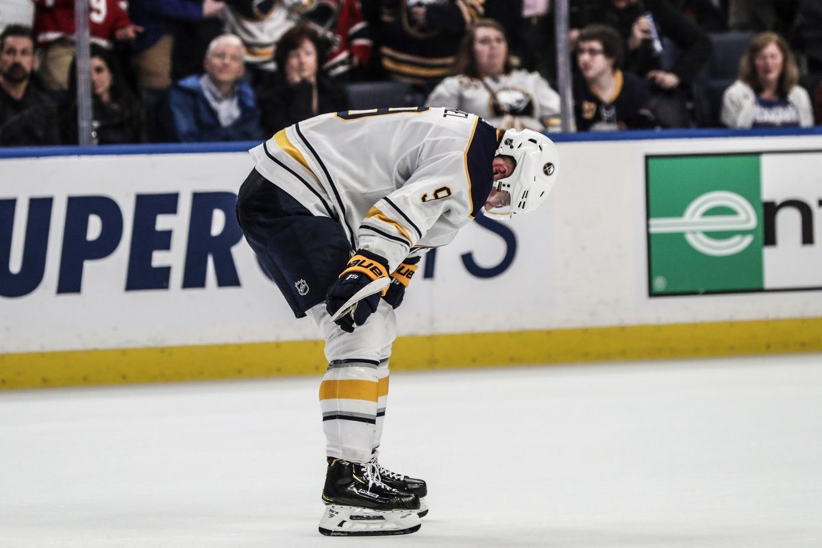 A frustrated Jack Eichel tries to collect himself after Carolina's game-winning goal in overtime (James P. McCoy/Buffalo News).