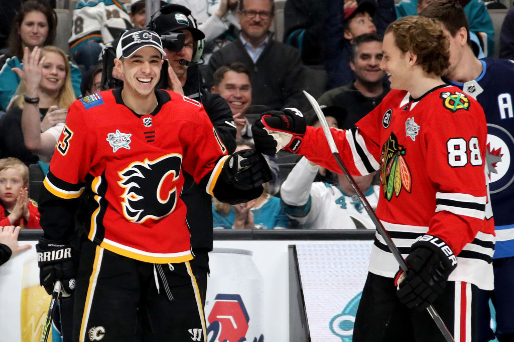 Calgary's Johnny Gaudreau (13) and Chicago's Patrick Kane (88) were the NHL's First and Third Stars on the month, respectively, for January (Getty Images).