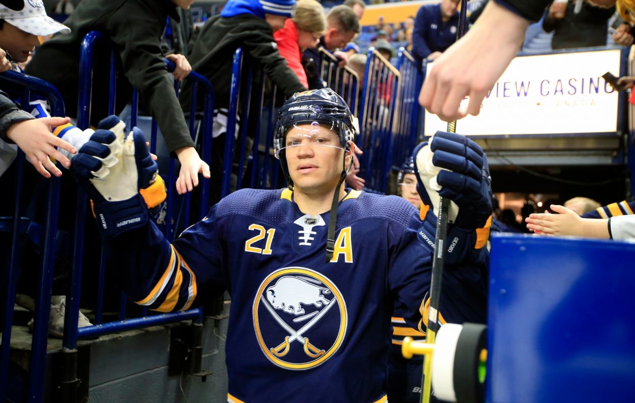 Kyle Okposo, taking the ice for Friday's game against Chicago, says the Sabres need to do a better job staying on an even keel from game to game (Harry Scull Jr./Buffalo News).