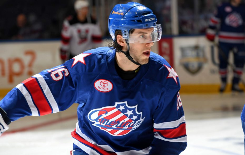 Taylor Leier was recently acquired by the Sabres and is playing in Rochester. (Micheline Veluvolu/Rochester Americans)