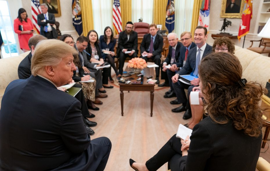 President Donald J. Trump meets with Washington, D.C.  based correspondents on Wednesday, Feb. 6, 2019, in the Oval Office. (Official White House Photo by Tia Dufour)