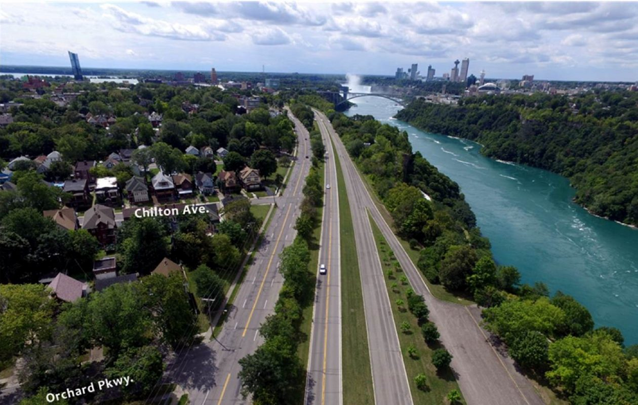 A look at the Niagara Scenic Parkway looking south from Orchard Street in Niagara Falls. (Courtesy Empire State Development)