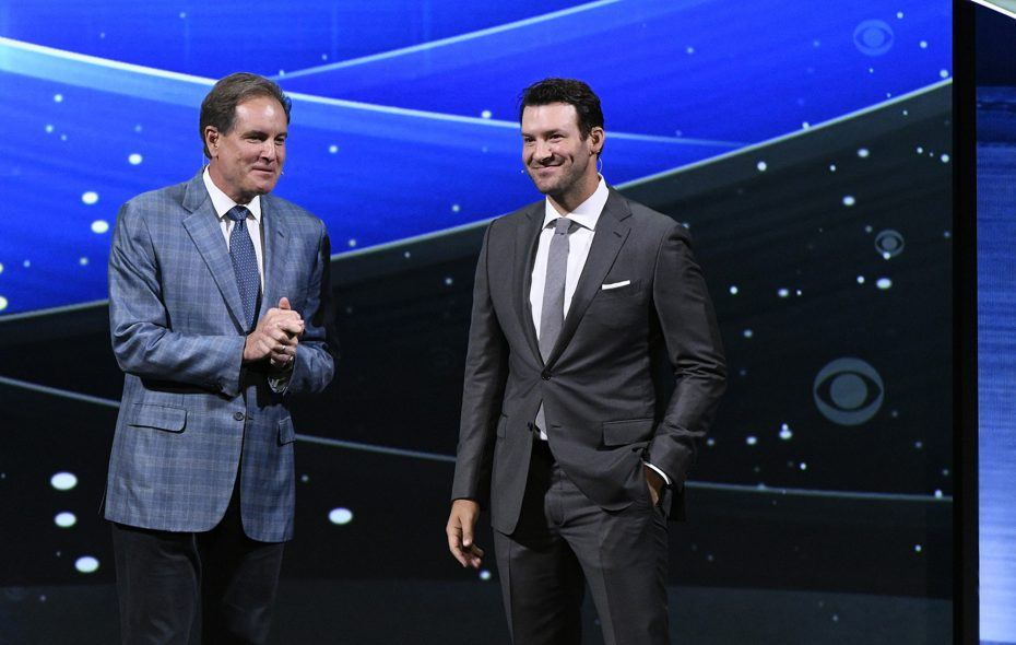 Jim Nantz, left, and Tony Romo provided most of the entertainment during Super Bowl LIII. (CBS via Getty Images/TNS file photo) **FOR USE WITH THIS STORY ONLY**