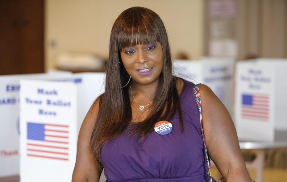 Shaqurah Zachery, who ran for State Senate in the Democratic primary, leaves a polling place in September. (Derek Gee/News file photo)