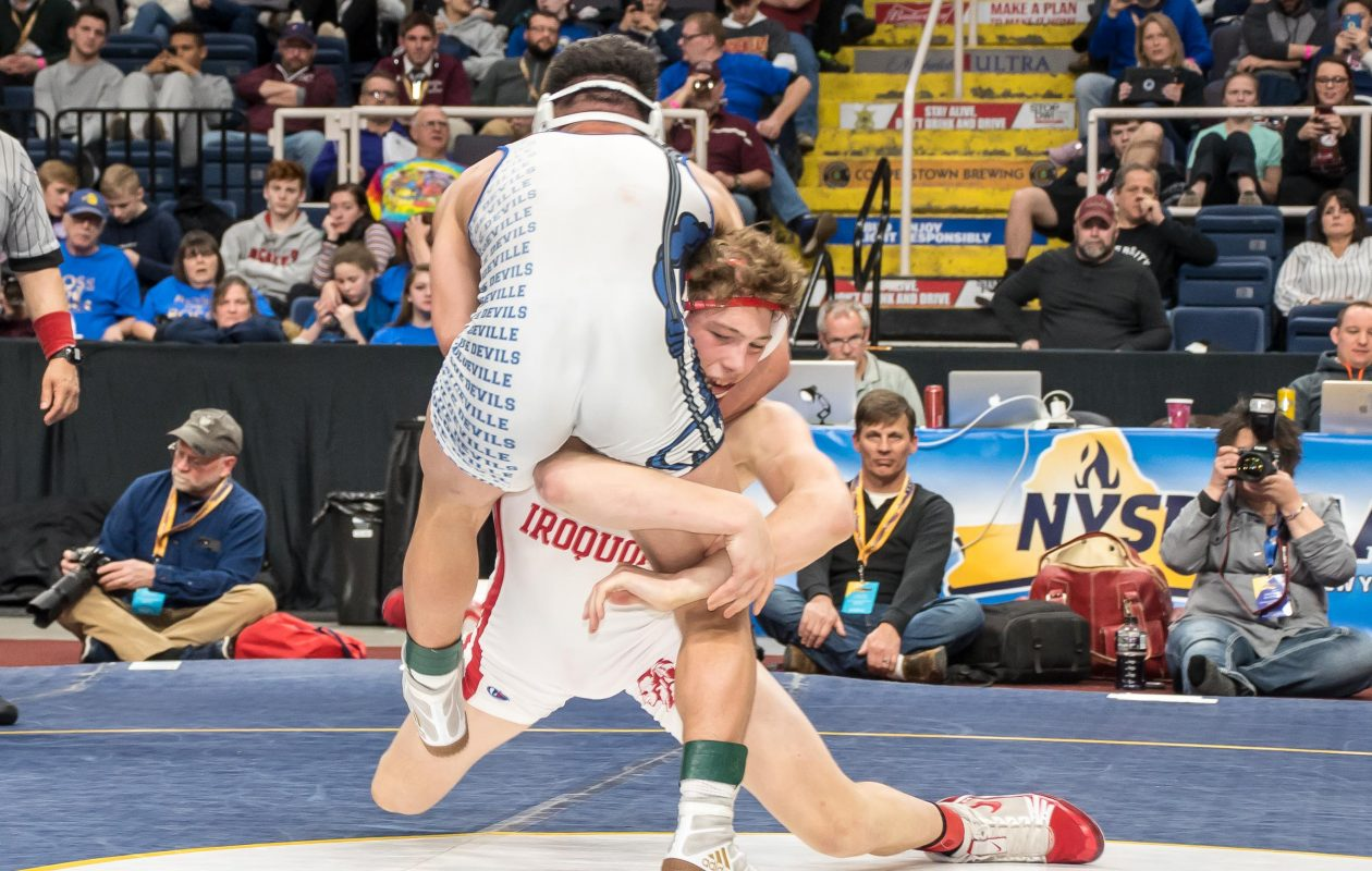 Iroquois' Cory Day is the new state wrestling champion at 160 pounds, defeating Jacob Null of Dolgeville. (Bob Koshinski/Special to the News)