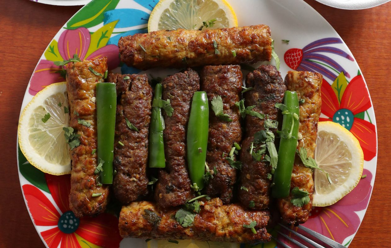A double order of both beef and chicken sheesh kabobs at Appletree Halal Restaurant. (Sharon Cantillon/Buffalo News)
