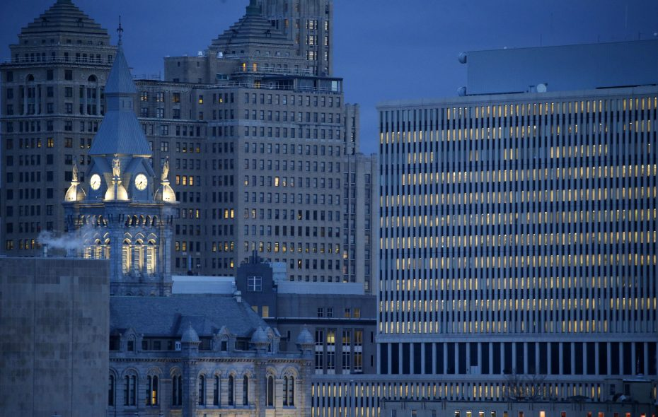 Old and new Erie County Halls at sunrise.   (Mark Mulville/News file photo)