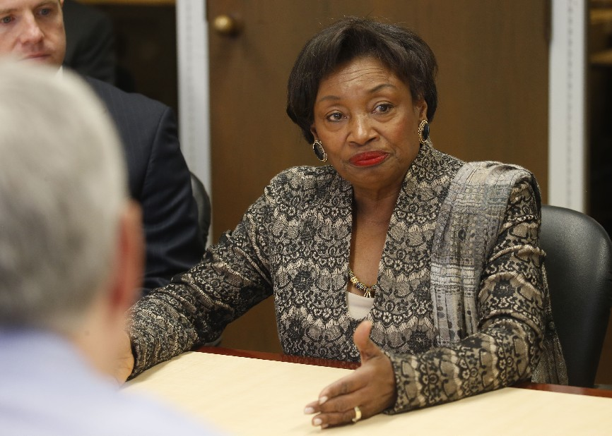 New Senate Majority Leader Andrea Stewart-Cousins told Buffalo News reporters and editors that upstate will not be ignored even though downstate officials now head all three branches of state government. (Robert Kirkham/Buffalo News)