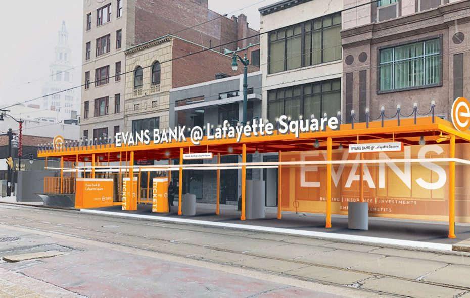 An NFTA rendering shows what the Lafayette Square Metro Rail station will look like now that Evans Bank has bought the naming rights.