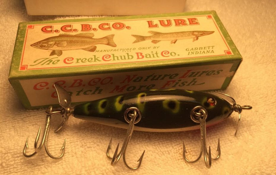 A lure like this Creek Chub, still in its original packaging, can significantly increase its value. (Bill Hilts Jr./Buffalo News)
