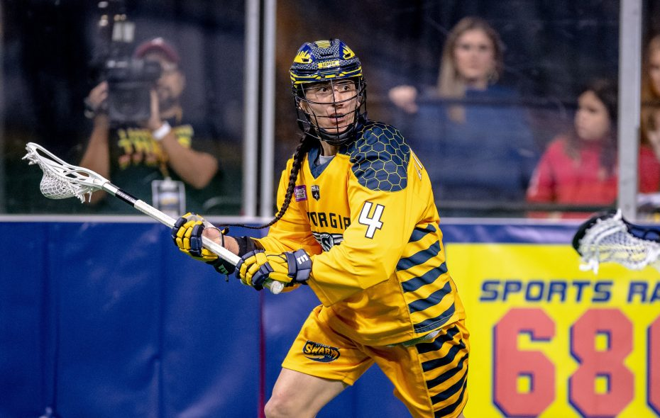 Lyle Thompson of the Georgia Swarm: One of the great players in the world was mocked in Philadelphia for wearing his hair in traditional fashion. (Photo courtesy Kyle Hess, National Lacrosse League)