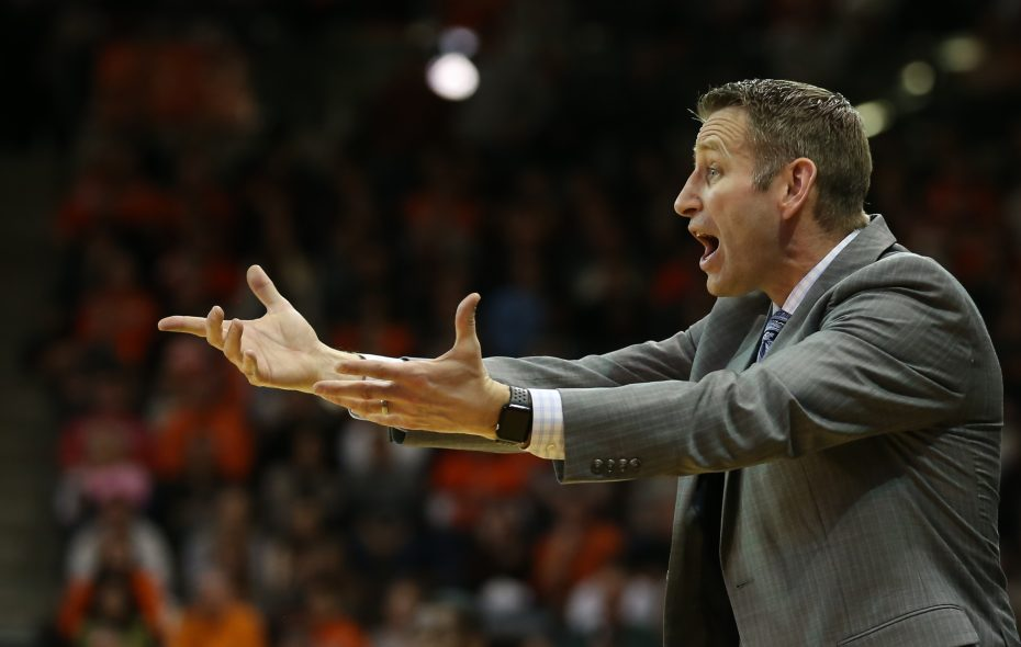 UB head coach Nate Oats reacts to an official's call during the second half of a 92-88 loss to Bowling Green on Friday at the Stroh Center in Bowling Green, Ohio. (Scott W. Grau/Special to the News)