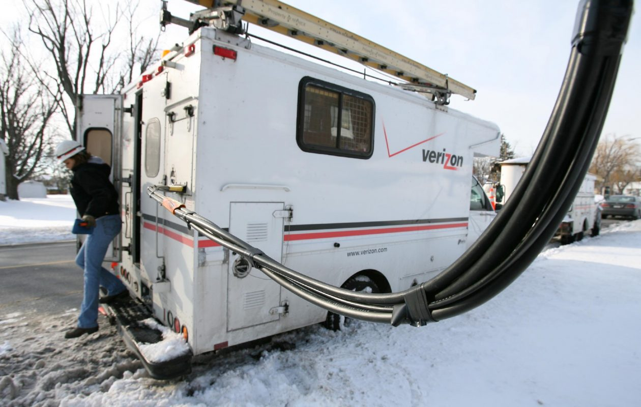 Verizon workers run fiber optic cable in West Seneca, one of a handful of suburbs that got high-speed internet while most of the region suffers with lesser service. (News file photo)