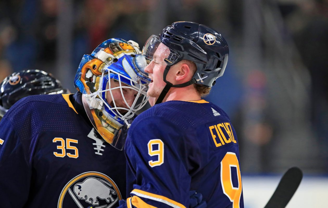 Buffalo Sabres captain Jack Eichel congratulates Linus Ullmark on a victory over the  Detroit Red Wings at the KeyBank center on Saturday, Feb. 9, 2019. (Harry Scull Jr./Buffalo News)