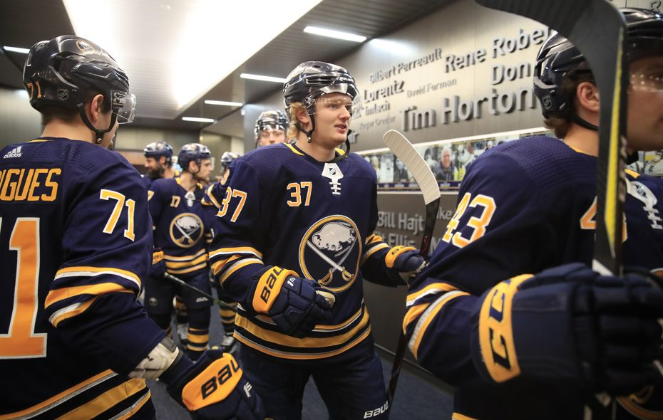 Buffalo Sabres forward Casey Mittelstadt makes his way to pregame prior to playing the Detroit Red Wings at KeyBank center on Saturday, Feb. 9, 2019. (Harry Scull Jr./Buffalo News)