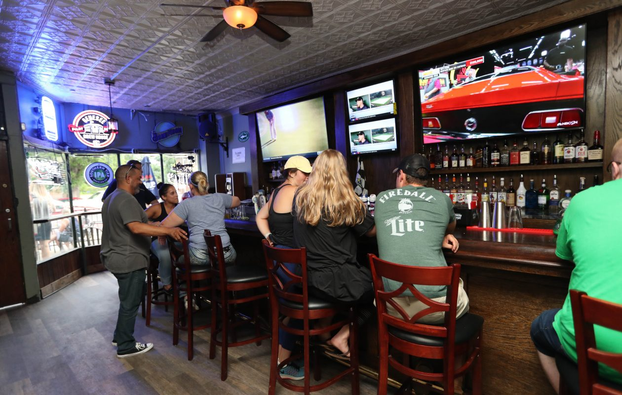 You can watch the game on various big-screen televisions at JP's Checkers.  (Sharon Cantillon/Buffalo News file photo)