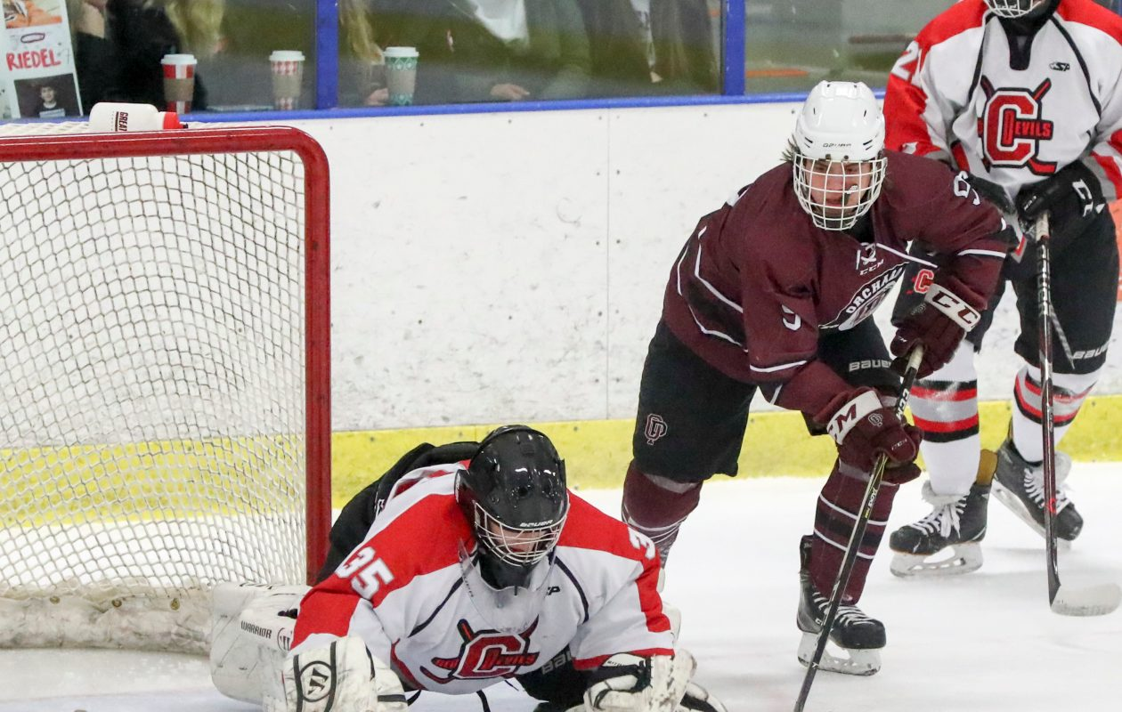 Orchard Park's Jack Kinsman, shown playing against Clarence in November, is tied for the team lead in goals (James P. McCoy/Buffalo News)