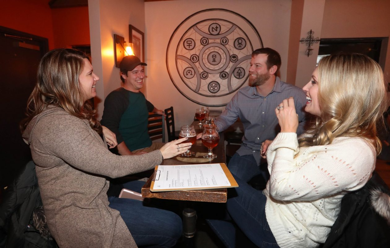 Hanging out at 12 Gates, from left, are Ashley Shadak of Lancaster, Michael Knavel of Cheektowaga and Brian and Ashley Brohm, of Lancaster. (Sharon Cantillon/Buffalo News)