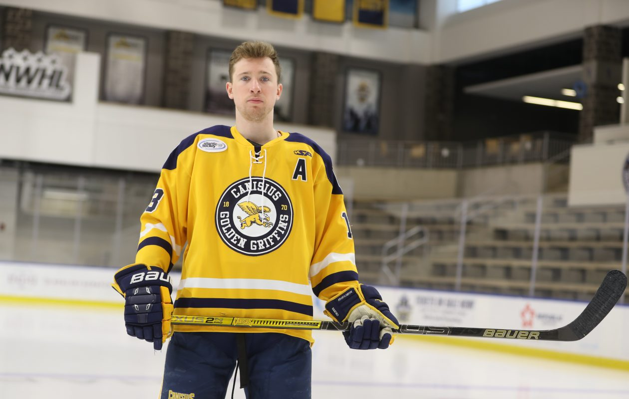 Canisius hockey's Dylan McLaughlin on the ice is among the top college ice hockey players in the nation at Harborcenter, in Buffalo, N.Y., on Thursday, Jan. 3, 2019. He was a top 10 finalist for the Hobey Baker award last season and should content for hockey's Heisman again.   (John Hickey/Buffalo News)