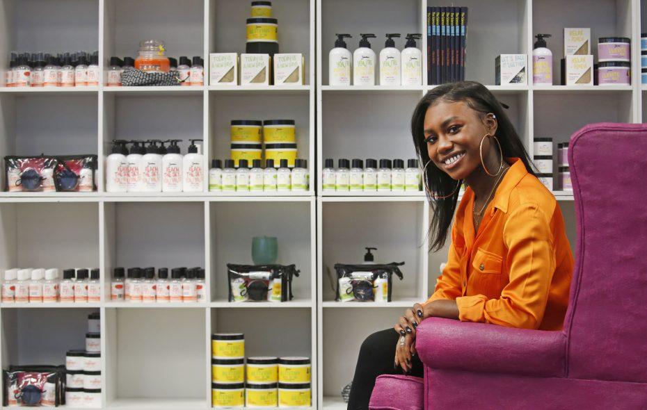 Zandra Cunningham in her product showroom at Zandra Beauty's Great Arrow Avenue headquarters. (Robert Kirkham/Buffalo News)